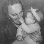 Portrait of man and granddaughter